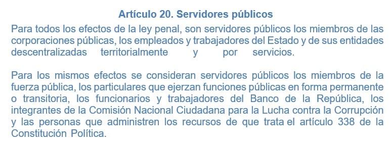 articulo 20 servidores publicos