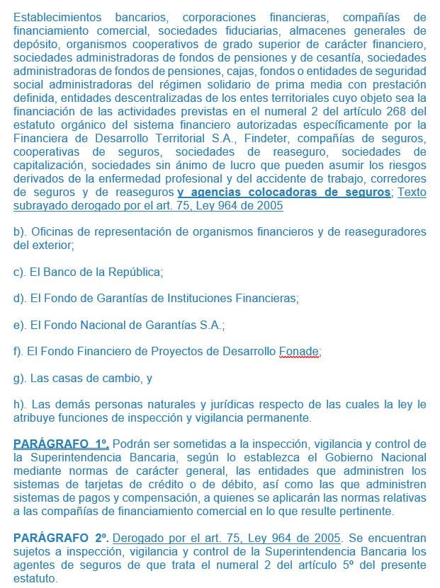 numeral 2 del artículo 325 del decreto 663 de 1993 (modificado por el artículo 72 de la ley 795 de 2003)